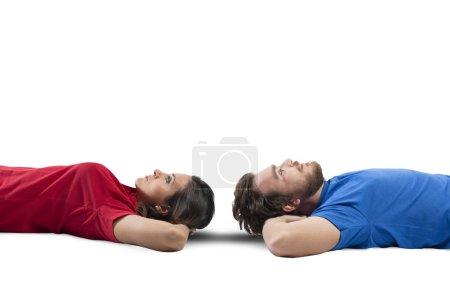 Photo pour Concept de jeune couple qui pense quelque chose - image libre de droit