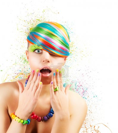 Photo for Colorful fashion makeup with rainbow color explosion - Royalty Free Image