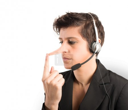 Concept of Customer Support liar with long nose...