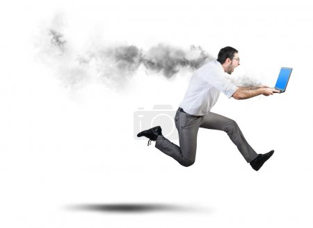 Photo for Running businessman has problems and errors with computer - Royalty Free Image