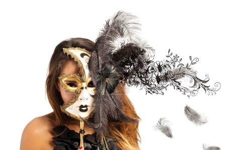 Photo pour Belle femme en masque de carnaval avec effet de mouvement - image libre de droit