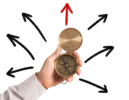 Photo for Businessman with compass looking for the correct way - Royalty Free Image