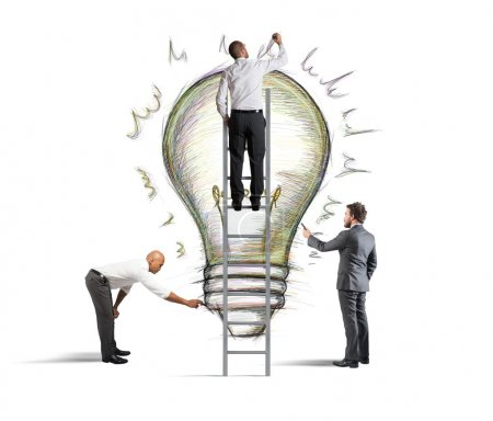 Photo for Business team drawing a new idea in a wall - Royalty Free Image