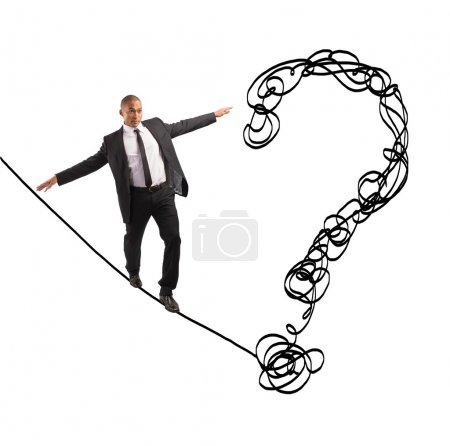 Photo for Problem and difficulty concept with businessman on the rope - Royalty Free Image