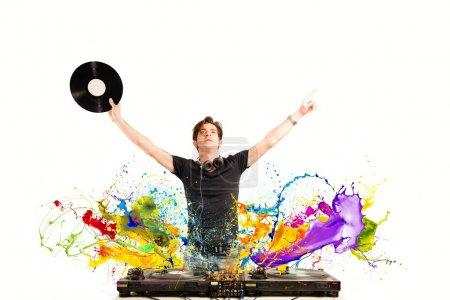 Cool DJ playing music