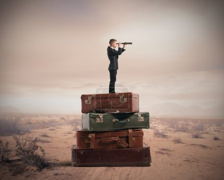 Photo for Concept of travel with businessman with binocular - Royalty Free Image