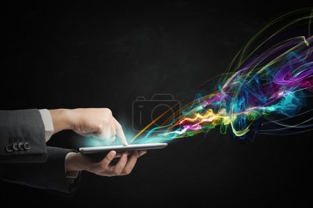 Photo for Businessman working with creative touch screen tablet - Royalty Free Image