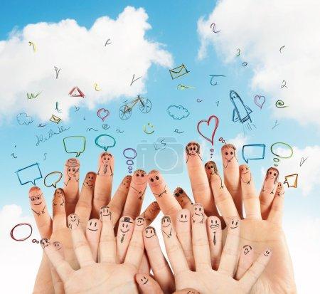 Photo pour Concept de réseau social avec dessin à la main - image libre de droit