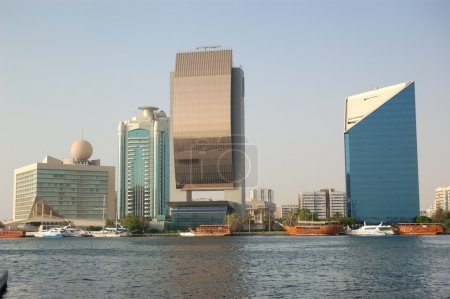 The buildings and yachts at Dubai Creek, UAE
