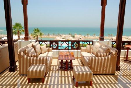 Sea view terrace at luxury hotel, Ras Al Khaimah, UAE