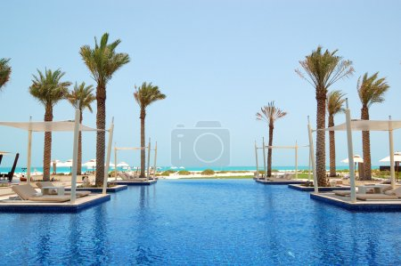Swimming pool of the luxury hotel, Saadiyat island, Abu Dhabi, U