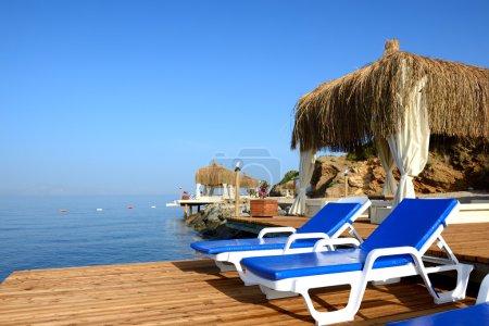 Beach on Mediterranean turkish resort, Bodrum, Turkey
