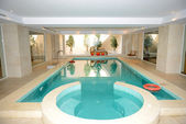 Swimming pool with jacuzzi in SPA at the luxury hotel, Peloponne