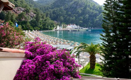 Yachts at the pier and beach on Mediterranean turkish resort, Fe