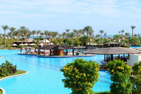 The swimming pool with bar at luxury hotel, Sharm el Sheikh, Egypt