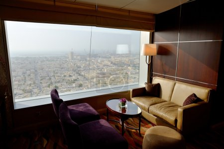 Photo for Interior of the luxury hotel with a view on Dubai city, UAE - Royalty Free Image