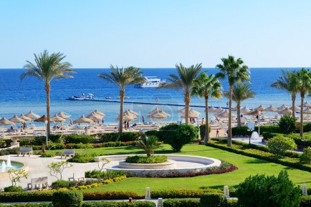 Motor yacht and beach at the luxury hotel, Sharm el Sheikh, Egyp