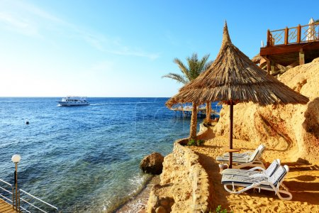 Sunrise and beach at the luxury hotel, Sharm el Sheikh, Egypt