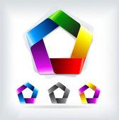 Abstract vector logo template pentagon
