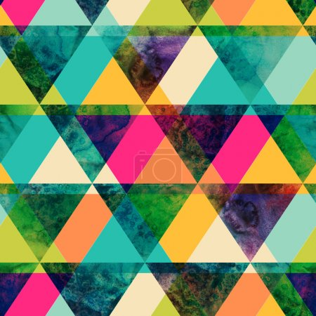 Photo for Watercolor triangles seamless pattern. Modern hipster seamless pattern. Colorful texture in hipster style. Geometry template. Grunge pattern.Retro triangle background. Bright pattern. - Royalty Free Image