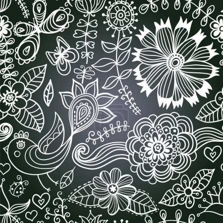 chalkboard seamless floral pattern. Copy that square to the sid