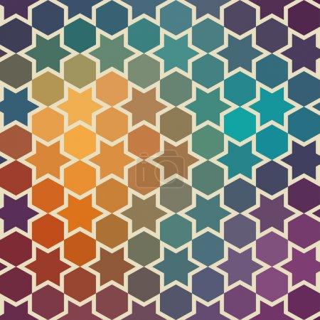 Photo pour Fond de répéter les étoiles géométriques. contexte géométrique de spectre. fond de hipster rétro couleur du spectre. composition carrée avec effet de flux couleur géométrique. - image libre de droit