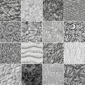 Sixteen black and white wave patterns