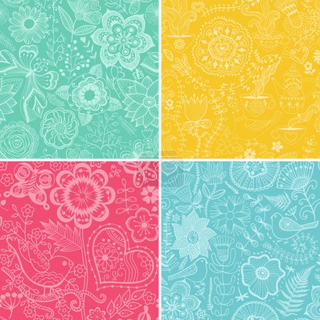 Set colorful floral patterns (seamlessly tiling).Seamless pattern can be used for wallpaper, pattern fills, web page background,surface textures. Floral seamless backgrounds combo.