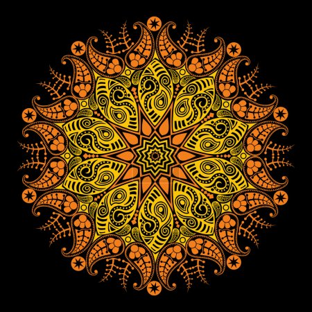 Illustration for Stylized sun, ornamental round lace on black - Royalty Free Image