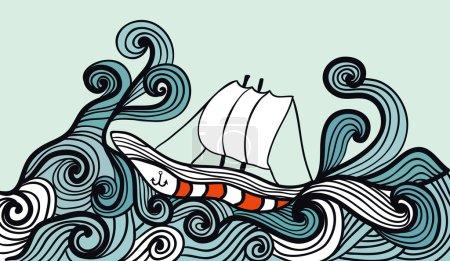 voilier dans l'océan de la tempête