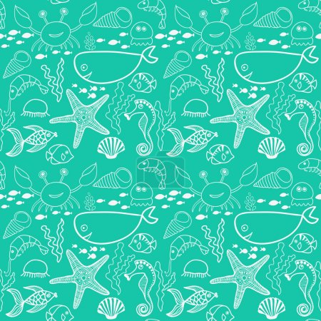 Illustration for Pattern with fish, crab,seaweed, starfish, seahorse - Royalty Free Image