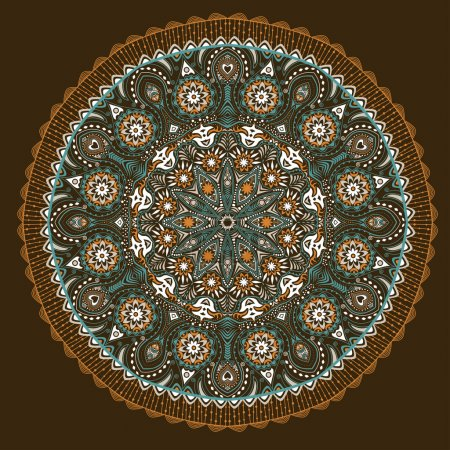 Illustration for Ornamental round lace pattern, circle background with many details, looks like crocheting handmade lace on grunge background, lacy arabesque designs. Orient traditional ornament. Oriental motif - Royalty Free Image