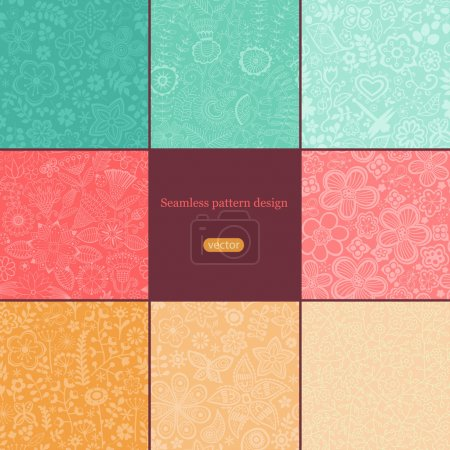 Illustration for Set of eight colorful floral patterns (seamlessly tiling).Seamless pattern can be used for wallpaper, pattern fills, web page background,surface textures. Floral seamless backgrounds combo. - Royalty Free Image
