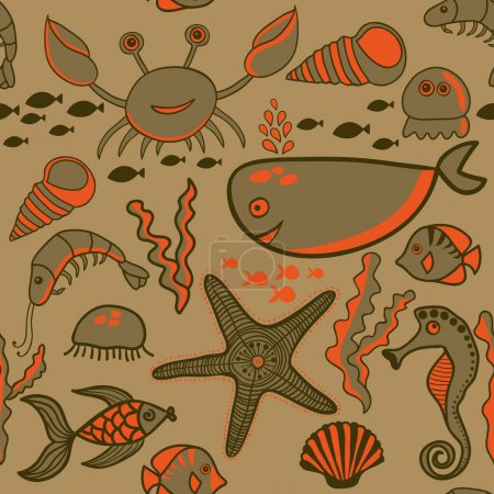 Marine seamless pattern, endless texture of sea world