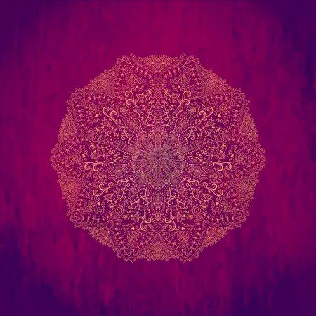 Illustration pour Motif de dentelle ronde ornementale, fond cercle avec de nombreux détails, ressemble à crochet dentelle à la main sur fond grunge, dessins arabesques dentelle. Orienter ornement traditionnel. Motif oriental - image libre de droit