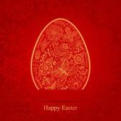 Velikonoční vajíčko vyrobené z květin, květinové velikonoční vajíčko pozadí