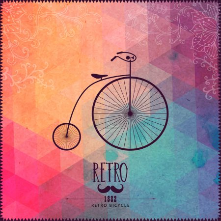Retro bicycle on hipster background made of triangles with grung