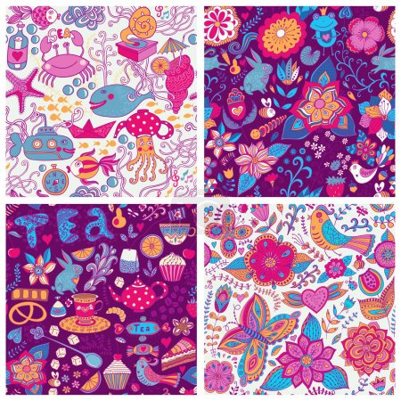 Set of eight colorful floral vector pattern