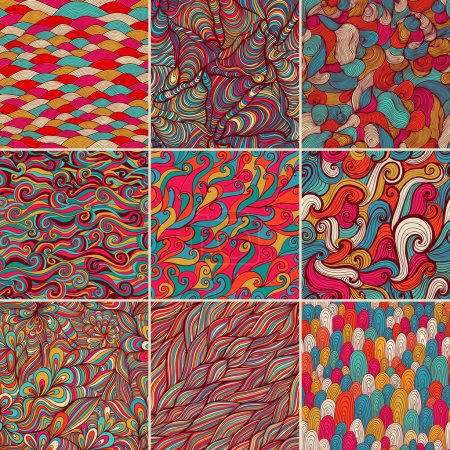 Set of 9 colorful wave patterns (seamlessly tiling).Seamless pattern can be used for wallpaper, pattern fills, web page background,surface textures. Fashion seamless backgrounds combo.