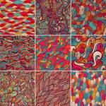 Set of 9 colorful wave patterns (seamlessly tiling...