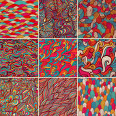 Set of 9 colorful wave patterns (seamlessly tiling)Seamless pattern can be used for wallpaper pattern fills web page backgroundsurface textures Fashion seamless backgrounds combo
