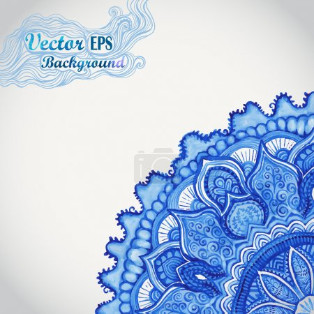 White and blue ornament.Watercolor vector gzhel. Doily corner lace pattern, circle background with many details, looks like crocheting handmade lace.Orient traditional ornament. Oriental motif