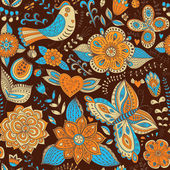 Seamless texture with flowers birds and butterflies Seamless p