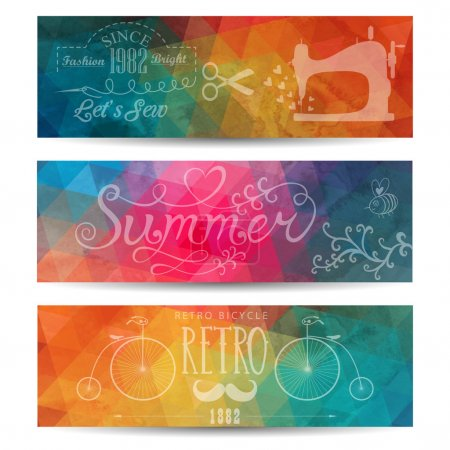 Grunge vector banner. Abstract header vector background. Triangl