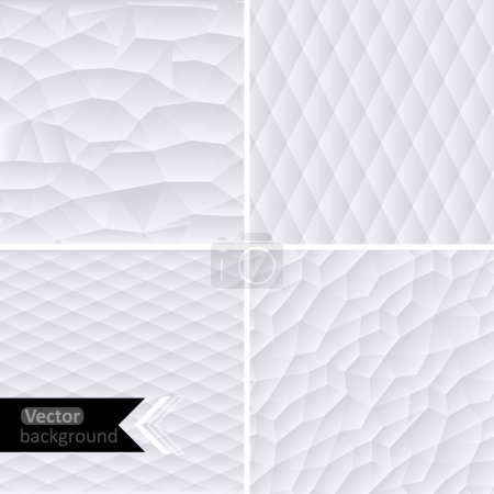 Illustration for Vector white geometric background. Vector Illustration. White mosaic banners. Geometric hipster retro background with place for your text. Retro triangle background. Set of four geometric templates. - Royalty Free Image