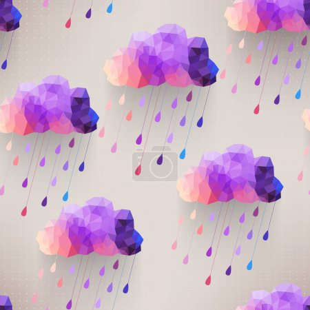 Illustration for Retro cloud seamless pattern with rain symbol, hipster background made of triangles Retro background with rain drop pattern.Square composition with geometric shapes.Weather backdrop. Autumn template. - Royalty Free Image