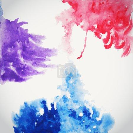 Illustration pour Fond d'aquarelle dessiné à la main abstrait, illustration vectorielle, teindre les aquarelles humides sur papier mouillé. Composition aquarelle pour éléments scrapbook - image libre de droit