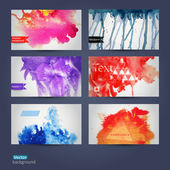 Vector abstract hand drawn set of six watercolor backgroundvect