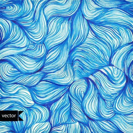 Vector watercolor seamless wave hand-drawn pattern, background (