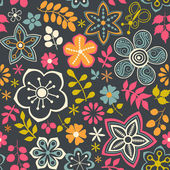Floral seamless pattern with flowers Vector blooming doodle flo